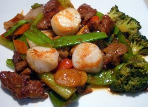 beef and scallops in black pepper sauce